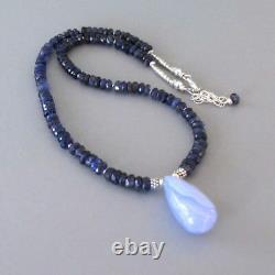 Djs Sundance Sol Iolite Rare Blue Chalcedony Sterling Silver Necklace Boho