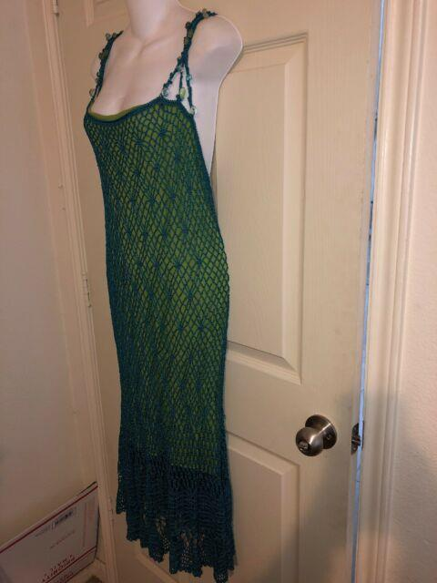 Double D Ranch Rare Teal Lime Stone Beaded Straps Crochet Midi Sexy Dress Size L