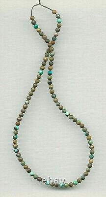 EXTREMELY RARE NEVADA CARICO LAKE TURQUOISE 5MM ROUND BEADS-18 Strand 265D
