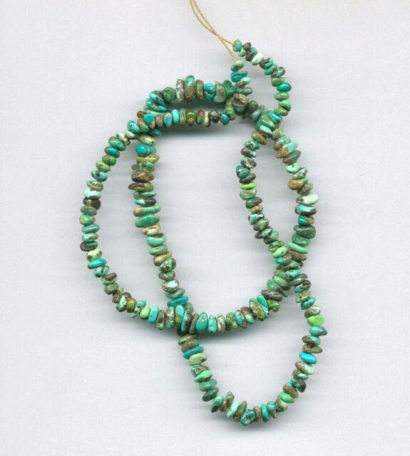 Extremely Rare Nevada Carico Lake Turquoise Petite Pebble Beads 18 Long #43
