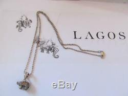 Estate Lagos Sterling Silver Beaded Rare Wonder Small Elephant Pendant Necklace