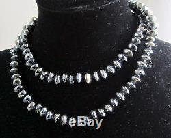 Estate Rare Vintage Natural Bright Hematite Lentil Shape Bead 24 Inch Necklace