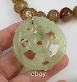 Estate Stunning Rare Asian Orange Stripe Agate Celedon Green Jade Bead Necklace