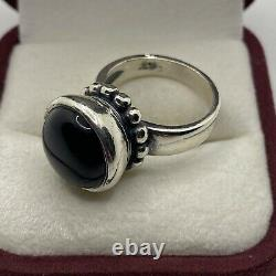 Extremely Rare James Avery Sterling Silver Beaded Onyx Ring