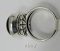 Extremely Rare James Avery Sterling Silver Beaded Onyx Ring size 6