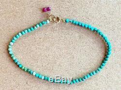 Extremely rare LIMITED Sleeping Beauty Turquoise Beaded Gemstone Bracelet 7 14k