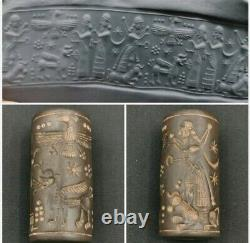 Fantastic, near Eastern dragon firing rare old stone cylinderseal bead