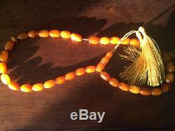 Genuine Natural Amber Islamic Prayer Beads 26g One Stone Very Rare
