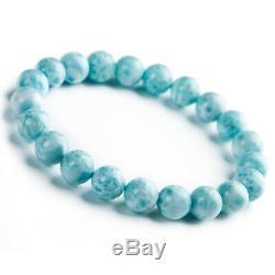 Genuine Natural Blue Larimar Dominica Round Beads Rare Women Bracelet 9mm AAAA
