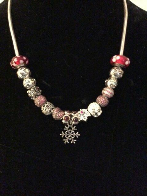 Genuine Pandora Lot Sterling/gold Beads/murano/clips/dangle/stones+necklace Rare