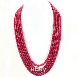 Genuine Rare 1010.00 Cts Earth Mined 5 Line Red Ruby Beads Necklace Big Deal