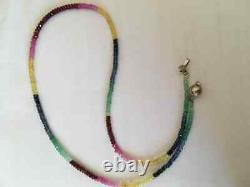 Genuine rare 925 silver & natural ruby emerald and sapphire beaded necklace