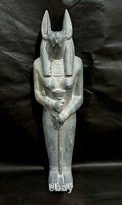 Giant Anubis God Statue God Hieroglyph Egyptian Antique Ancient Bead Mummy RARE