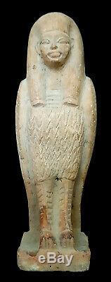 Giant Horus Sculpture Egyptian Antique Bead Ra Carved Stone Rare Ushabti Figure