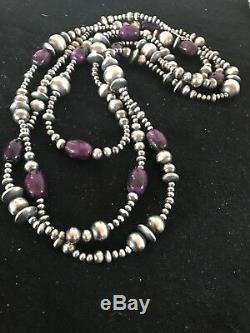 Gorgeous LONG Navajo Pearls Sterling Silver Sugilite Bead Necklace 70 Rare 8052