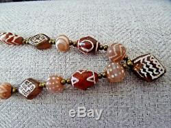 Gorgeous Rare Ancient Etched Carnelian Agate Stone Necklace Beads Pyu Dzi Indus