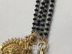 Gorgeous Rare Solid 23KT Yellow Gold Handmade Black Onyx Beaded Necklace