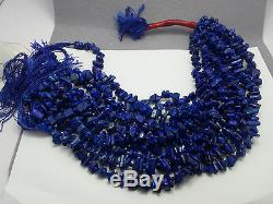 Grade A polished tumbled beading rare Lapis Lazuli un-dyed beading strands 11pc