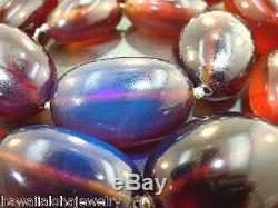 Graduated Genuine Rare Indonesian Blue Amber Oval Bead 925 Silver Necklace 23