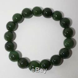 Green Jade Beaded Bracelet, Russian jade, Rare Russian Gemstone