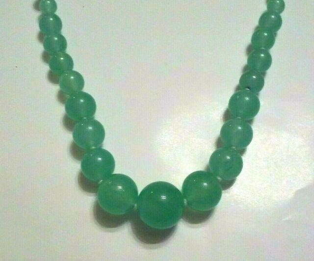 Green Jade Necklace. Rare Graduated 6 14 Mm Beads. 22 Sterling Silver Clasp