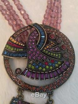 HEIDI DAUS Purple Bead ART DECO Blue Stone Drop Vintage NECKLACE RARE