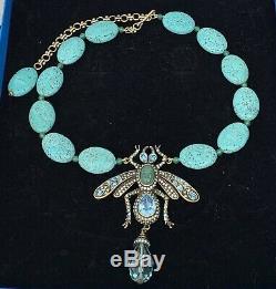 HEIDI DAUS Rare Fly Bug Beaded Drop Turquoise Pendant NECKLACE Swarovski