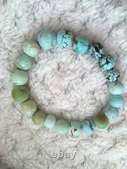 Handmade rare natural turquoise bracelet, beads 8-10mm, untreated stones
