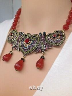 Heidi Daus Distinguished Opulence Carnelian Beaded Necklace RARE