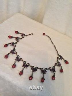 Heidi Daus Red Carnelian Bead DROP Bead Necklace RARE