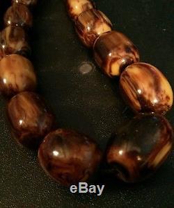 Huge Large Rare Vintage Oval Bakelite Beads 30mm x 20mm Coffee Toffee Marbled