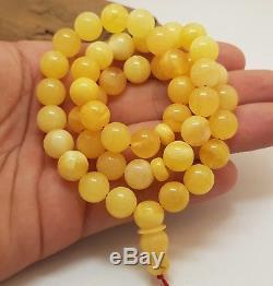 Islamic Prayer Tasbih Stone Amber Natural Baltic 39,1g Bead 45 Rare White G-118