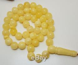 Islamic Prayer Tasbih Stone Amber Natural Baltic 45 Bead 28,5g White Rare X-019
