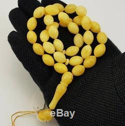 Islamic Prayer Tasbih Stone Amber Natural Baltic Olive White 33,1g Rare A-402
