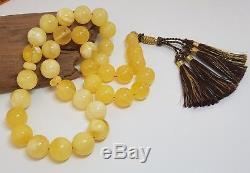 Islamic Prayer Tasbih Stone Amber Natural Baltic White 33 Bead 74,1g Rare F-301