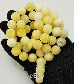 Islamic Prayer Tasbih Stone Amber Natural Baltic White 45 Bead 111,2g Rare A-504