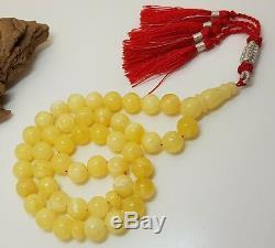 Islamic Prayer Tasbih Stone Amber Natural Baltic White 45 Bead 40,1g Rare F-575