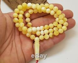 Islamic Prayer Tasbih Stone Amber Natural Baltic White 66 Bead 21,1g Rare F-457