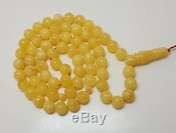 Islamic Prayer Tasbih Stone Amber Natural Baltic White 66 Bead 25,2g Rare F-771