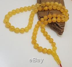 Islamic Prayer Tasbih Stone Amber Natural Baltic White 66 Bead 40,1g Rare F-338