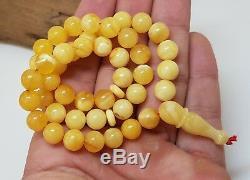 Islamic Prayer Tasbih Stone Amber Natural Baltic White Bead 20,2g Rare Sea F-315