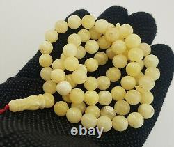 Islamic Prayer Tasbih Stone Amber Natural Baltic White Bead 28,1g Rare Old R-459