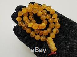 Islamic Prayer Tasbih Stone Amber Natural Baltic White Bead 29,1g Rare Sea A-071