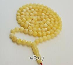 Islamic Prayer Tasbih Stone Amber Natural Baltic White Bead 36,6g Rare Old A-798