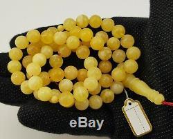 Islamic Prayer Tasbih Stone Amber Natural Baltic White Bead 37,4g Rare A-404
