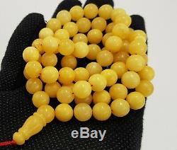 Islamic Prayer Tasbih Stone Amber Natural Baltic White Bead 38,1g Rare Old A-304