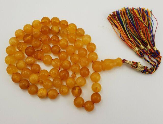 Islamic Prayer Tasbih Stone Amber Natural Baltic White Bead 49,6g Rare Old A-306