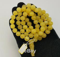 Islamic Prayer Tasbih Stone Amber Natural Baltic White Bead 50,9g Old Rare A-397