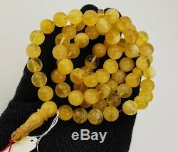 Islamic Prayer Tasbih Stone Amber Natural Baltic White Bead 51,7g Old Rare A-395