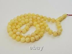 Islamic Prayer Tasbih Stone Amber Natural Baltic White Old Bead 24,1g Rare R-220
